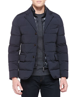 Moncler Roulliac Nylon-Stretch Blazer, Navy