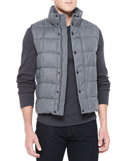 Moncler Tenay Flannel Quilted Vest, Gray