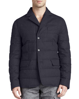 Moncler Rodin Quilted 3-Button Jacket, Navy