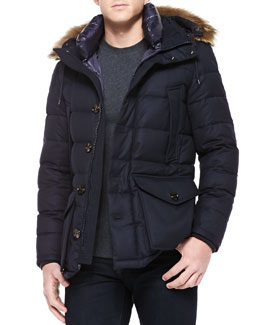 Moncler Rethel Fur-Trim Hooded Jacket, Navy