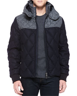 Moncler Labastide Diamond-Quilted Wool Jacket, Navy