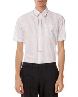 Clayde Short-Sleeve Piped Stripe Shirt