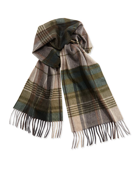 Cashmere Plaid Scarf, Green
