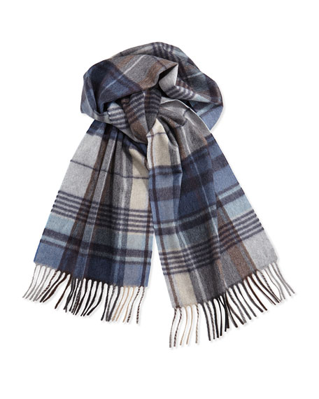 Cashmere Plaid Scarf, Blue