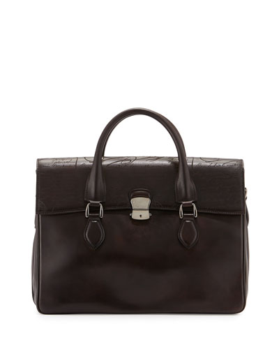 Emio Script-Embossed Flap-Top Briefcase, Dark Brown