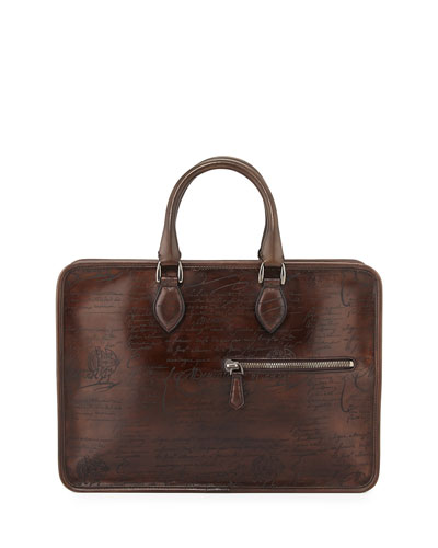 Un Jour Scritto Leather Briefcase, Brown