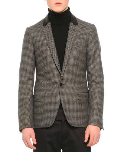 Houndstooth One-Button Jacket, Gray