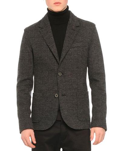 Two-Button Soft Check Jacket, Dark Gray