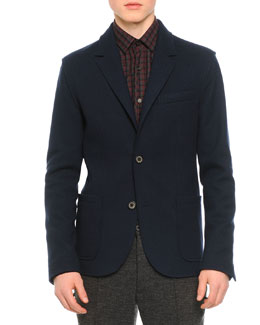 Two-Button Double Face Soft Jacket, Blue