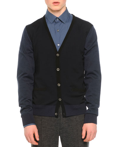 Tricolor Cardigan Sweater, Navy