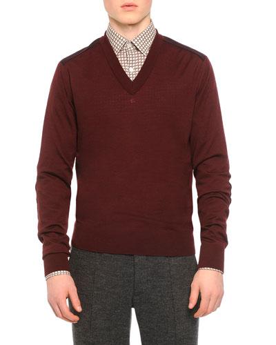 Double Jersey V-Neck Sweater, Burgundy