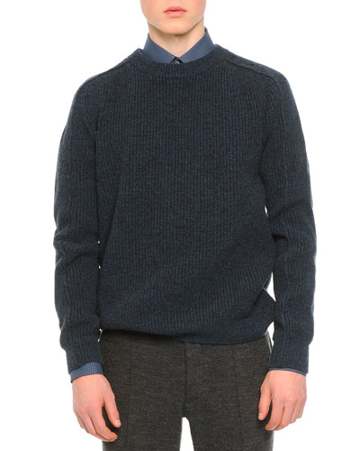 Mouline Ribbed Wool Sweater, Blue
