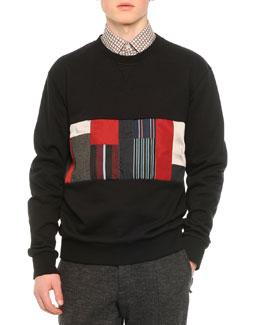 Patchwork Cotton Sweatshirt, Black
