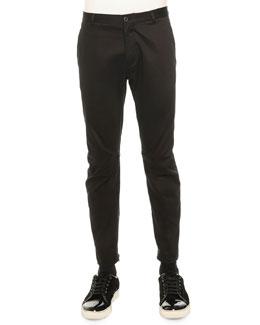 Cotton-Satin Biker Trousers, Black