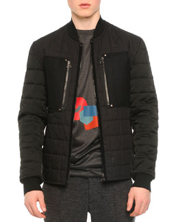 Quilted Zip Bomber Jacket, Black