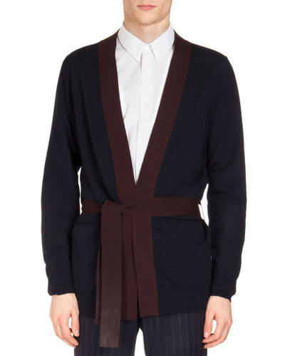 Contrast Belted Cardigan