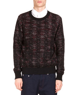 Woven Jacquard Crewneck Sweater