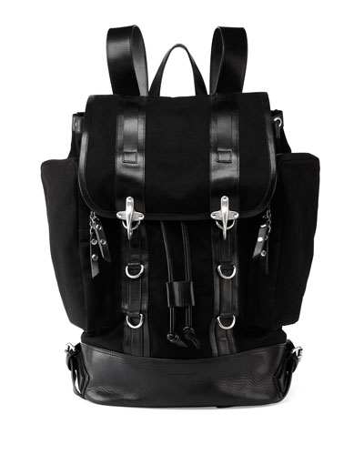 Lobster Clasp-Tabbed Velvet Combo Backpack