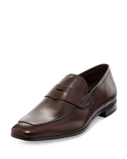 Square-Toe Leather Penny Loafer, Brown