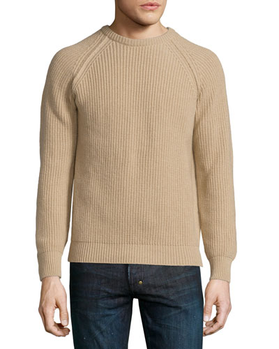 Long-Sleeve Crewneck Cashmere Sweater, Sand