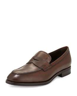 Burnished Leather Penny Loafer, Medium Brown