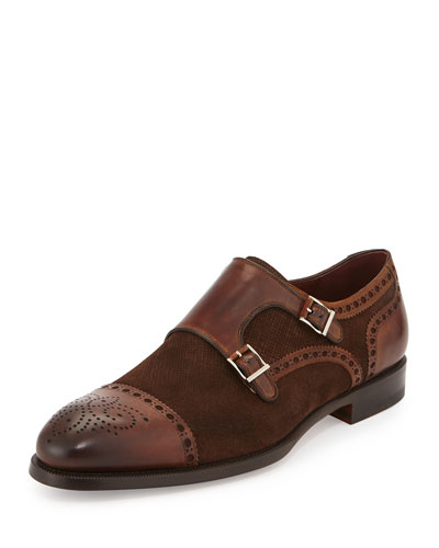 Suede & Leather Double-Monk Loafer, Medium Brown