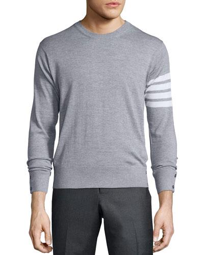 Merino Wool Crewneck Sweater, Light Gray