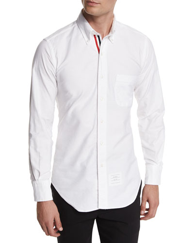 Long-Sleeve Cotton Oxford Shirt, White