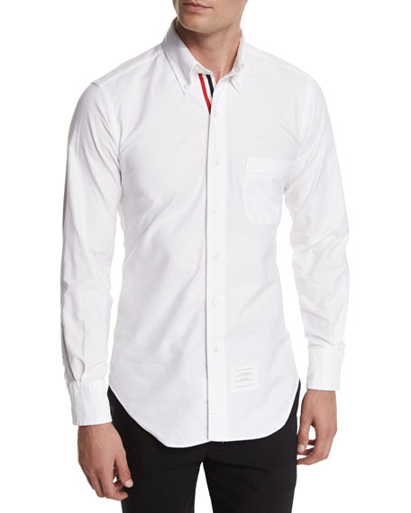 Thom Browne Long-Sleeve Cotton Oxford Shirt, White