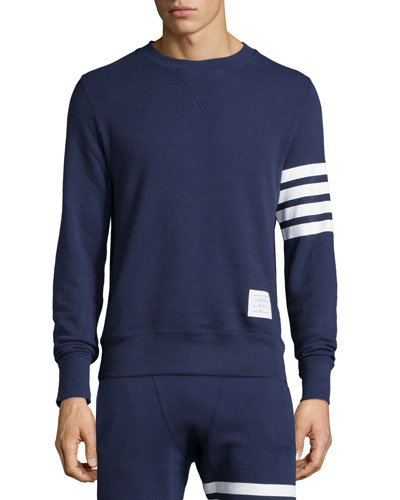 Terry Arm-Striped Crewneck Sweatshirt, Navy