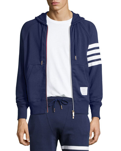 Terry Arm-Striped Zip Hoodie Jacket, Navy