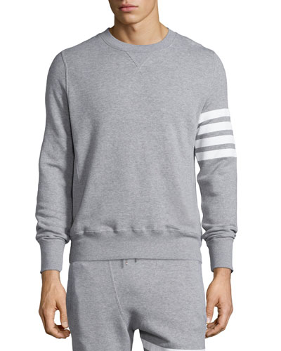 Terry Arm-Striped Crewneck Sweatshirt, Gray