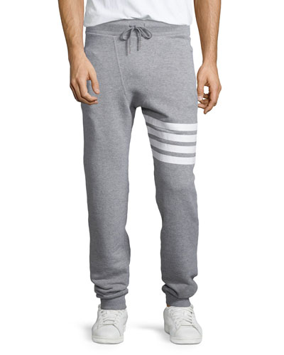 Terry Striped-Detail Drawstring Sweatpants, Gray