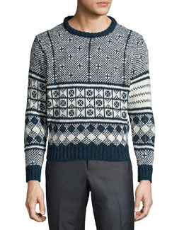 Fair Isle Knit Crewneck Sweater