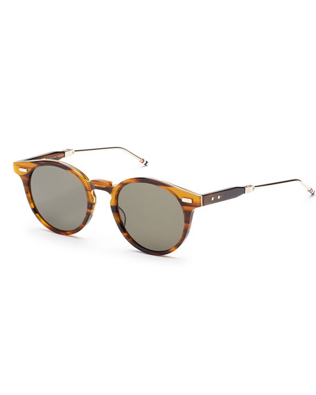 Round Walnut Acetate Sunglasses