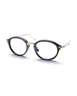18K Gold Navy Acetate Pantos Sunglasses