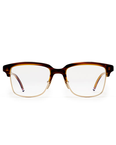 12K Gold & Walnut Acetate Half-Rim Glasses