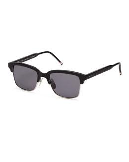 Black Acetate Half-Rim Sunglasses