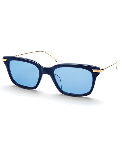 18K Gold & Blue Acetate Square Sunglasses