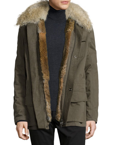 Field Fur-Lined Cargo Jacket, Olive