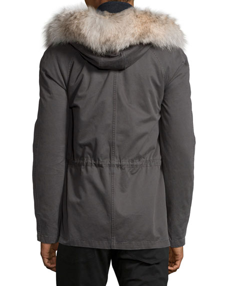 Fur-Lined Mid Classic Parka, Anthracite