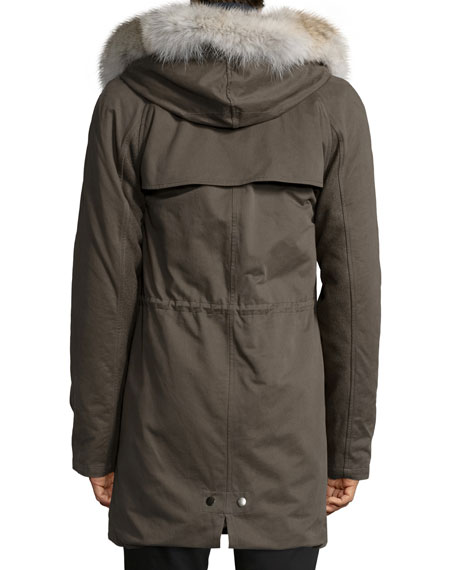 Fur-Lined Hooded Fishtail Parka, Olive