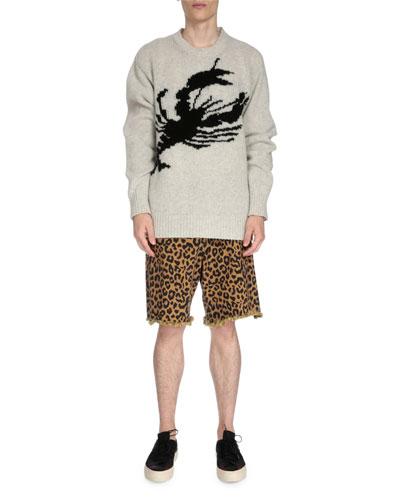 Oversized Wool Lobster Sweater, Gray