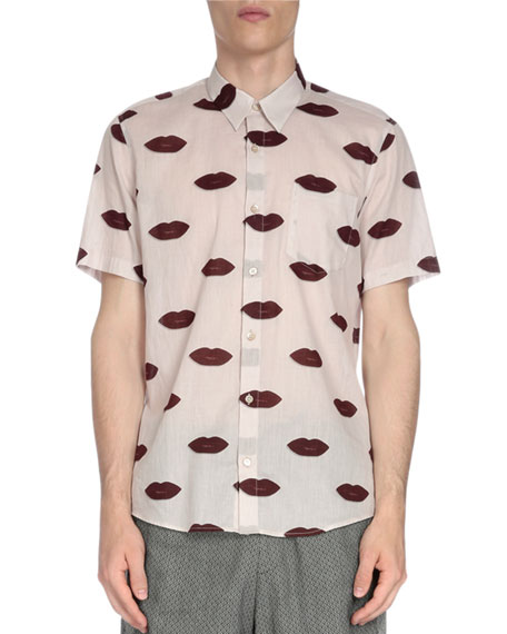 7ad83c82ec Dries Van Noten Short-Sleeve Lip-Print Shirt