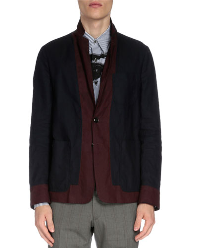 Soft Two-Tone Two-Button Jacket, Navy