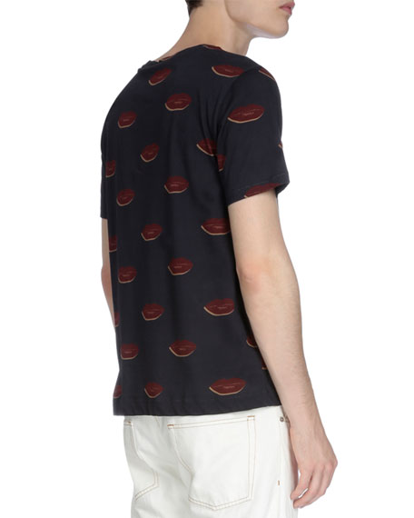 Lip-Print Short-Sleeve T-Shirt