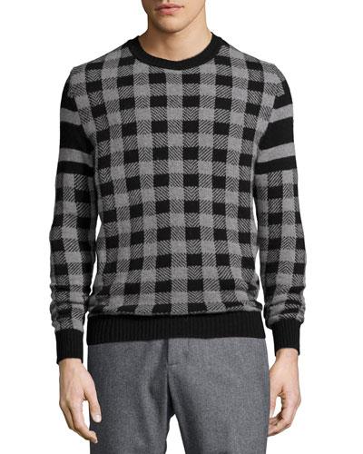 Buffalo-Check Wool-Blend Sweater, Charcoal