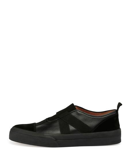 3e31c18e3272 Mixed-Media Leather Slip-On Sneaker Black