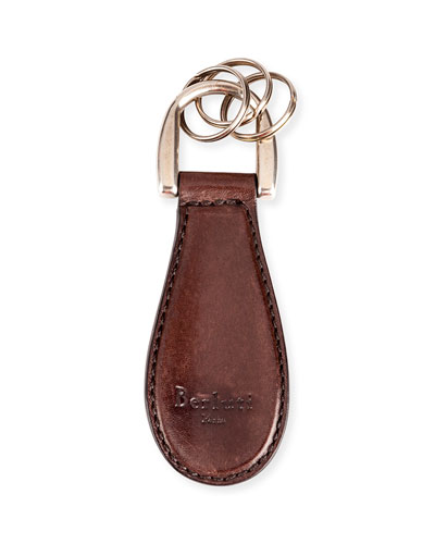 Leather Shoe Horn Key Chain, Medium Brown