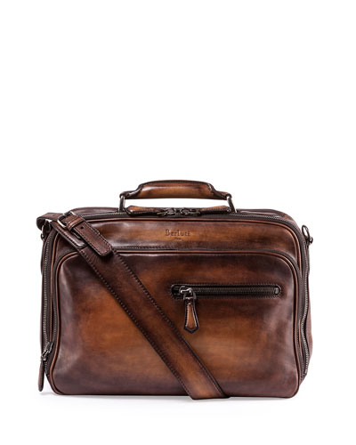 Leather Travel Reporter Bag, Brown